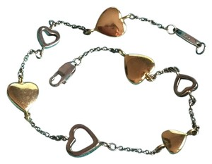 Tiffany & Co. TIFFANY & CO - Solid 18k 18kt Yellow and White Gold - Heart Charm Bracelet