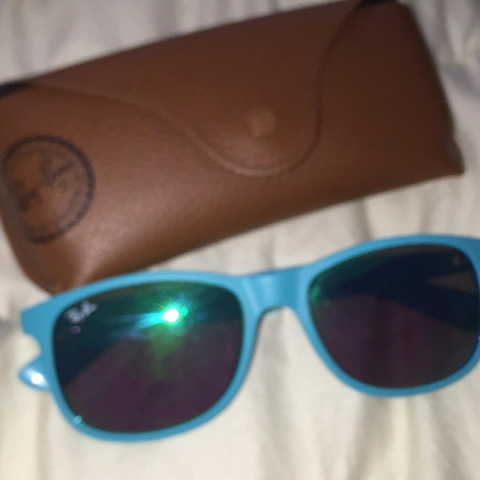 53741def4 Ray-Ban Teal/Turquoise with Green Flash Lens Sunglasses - Tradesy
