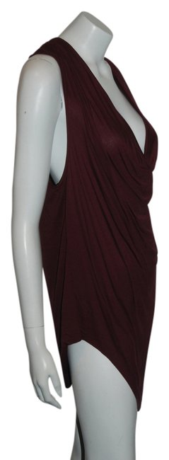 Item - Maroon L 62 Sleeveless Draped Neckline Blouse Size 12 (L)