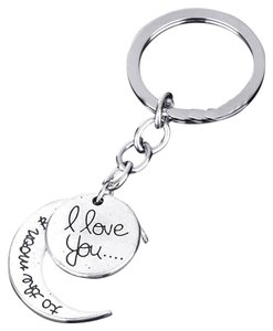 I Love you to the moon and back key ring key chain free shipping
