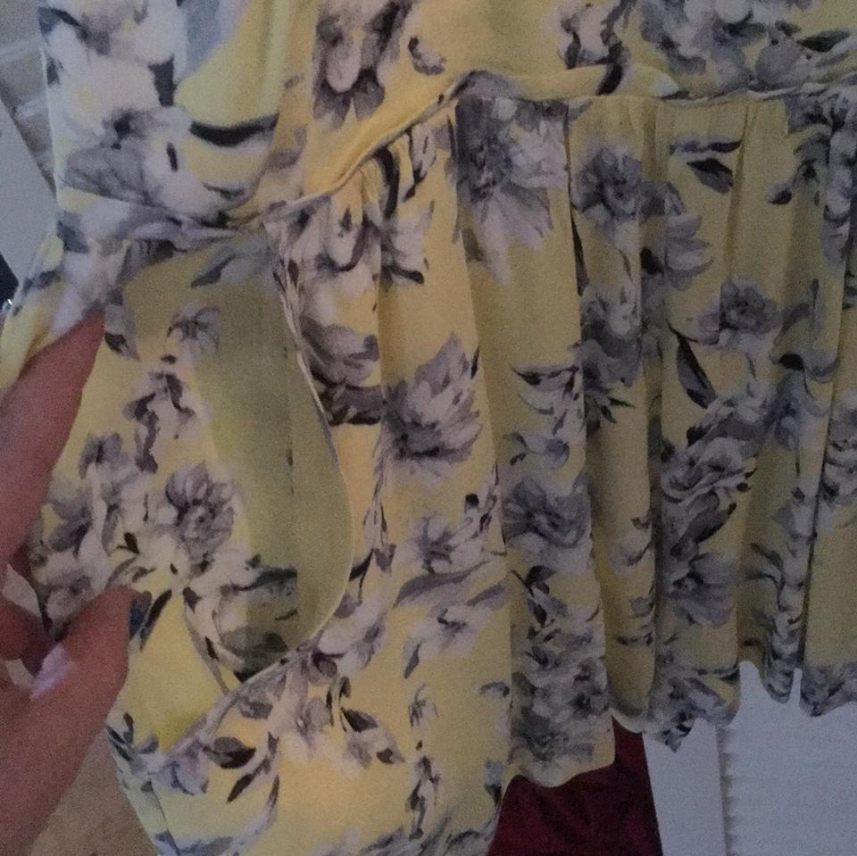 Forever 21 Yellow Wgrey Floral Romperjumpsuit Tradesy