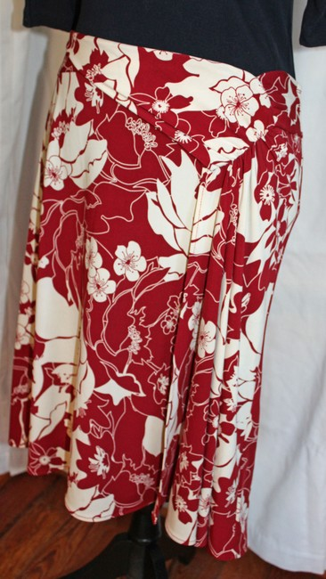 BCBGMAXAZRIA Skirt Deep Red Floral Wrap