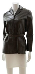 Calvin Klein Collection Leather Chocolate Brown Leather Jacket