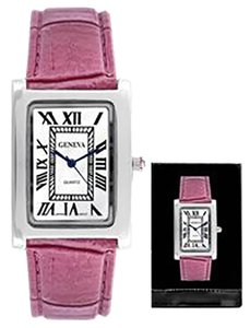 Geneva Rectangle Pink Ladies Fashion Watch L-PGL303 (with a black box) FREESHIPPING