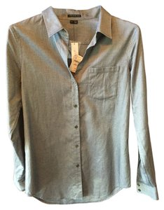 Theory Button Down Shirt Grey/white