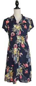 French Connection short dress Navy and Floral Shirt Dress on Tradesy