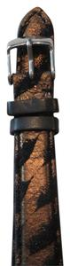 Michele Nwt Michele Gold Copper Metallic And Black Leather 16MM Watch Band