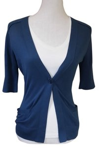 BCBGMAXAZRIA Silk One Button Cotton Short Sleeve Cardigan