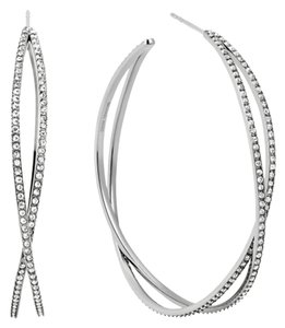 Michael Kors NWT MICHAEL KORS Criss-Cross SILVER-Tone Hoop Earrings MKJ4407040