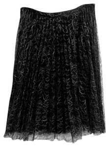 Calvin Klein Lace Silk Designer Label Ballerina A-line Pleated Crystal Knee Length Metallic Silver Luxury Skirt Black