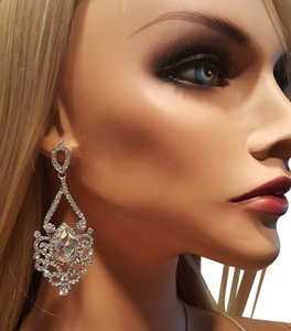 Other Bridal Dangle earrings Austrian Crystals Silver plated