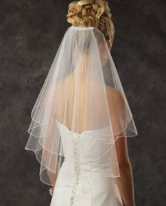 J.L. Johnson Bridals White Two Layer Elbow Length Bridal Veil With Rhinestones