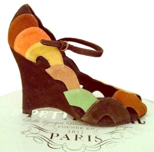 Steve Madden Platform Heels Tan Suede Sandal Open Toe Ankle Strap Peep Toe Stiletto Leather Color-blocking Multi- Brown, Orange, Yellow, Green, Beige Wedges