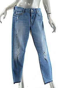 Mother Distressed Cotton Stretch Capri/Cropped Denim-Distressed