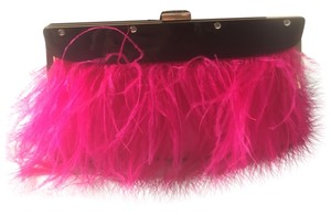 BCBGMAXAZRIA Hot Pink Ostrich Feather Clutch Clutch