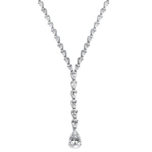 Fabulous Graduated Crystal Pears Bridal Necklace