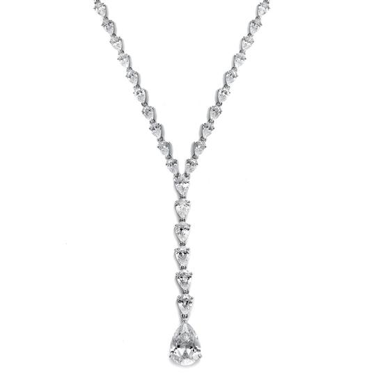 Silver/Rhodium Fabulous Graduated Crystal Pears Necklace