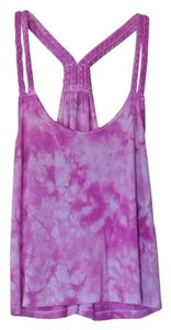 Mudd Tie Dye Crop Braided Spring Racer-back Top Purple