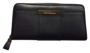 Gianfranco Ferre modern black italian leather wallet with brass accents