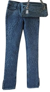 Chanel Camelia Silk Lined Embroidered Floral Skinny Jeans-Medium Wash