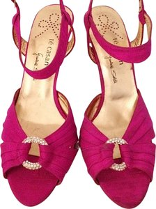 Te Casan Swarovski Crystal Fuschia Magenta Designer Luxury Open Toe Sandal Encrusted Ankle Strap Limited Edition Pink Formal