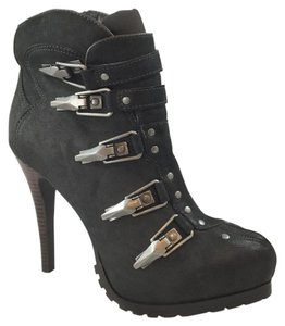Ash Charcoal Black Leather Boots