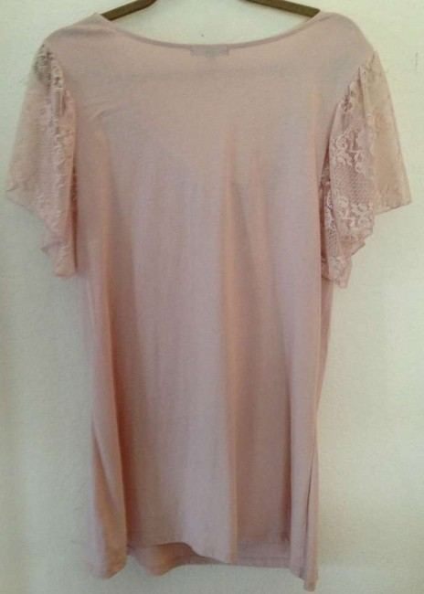 Gap Pima Cotton Lace Lace Trim Date Night Night Out Casual Scalloped Comfortable T Shirt Pink