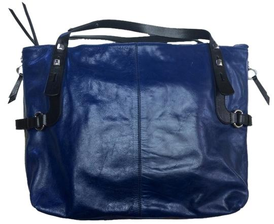 Francesco Biasia Blue Leather Silver Hardware Zippers Tote in Cobalt