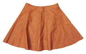 HAVE by JOA Leather Mini A-line Night Out Date Night Mini Skirt Salmon