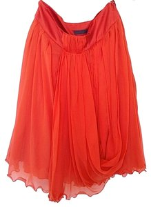 Alberta Ferretti Premium Tangerine Silk Draped Drape A-line Ballerina Made In Italy Italian Skirt Orange