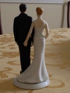 Black and White Pinching Butt Cake Topper
