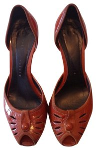 Martinez Valero Patent Leather Suede Neutral D'orsay Peep Toe Classic Made In Spain Spanish Orange Pumps