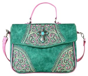 Montana West Boot Scroll Turquoise Messenger Bag