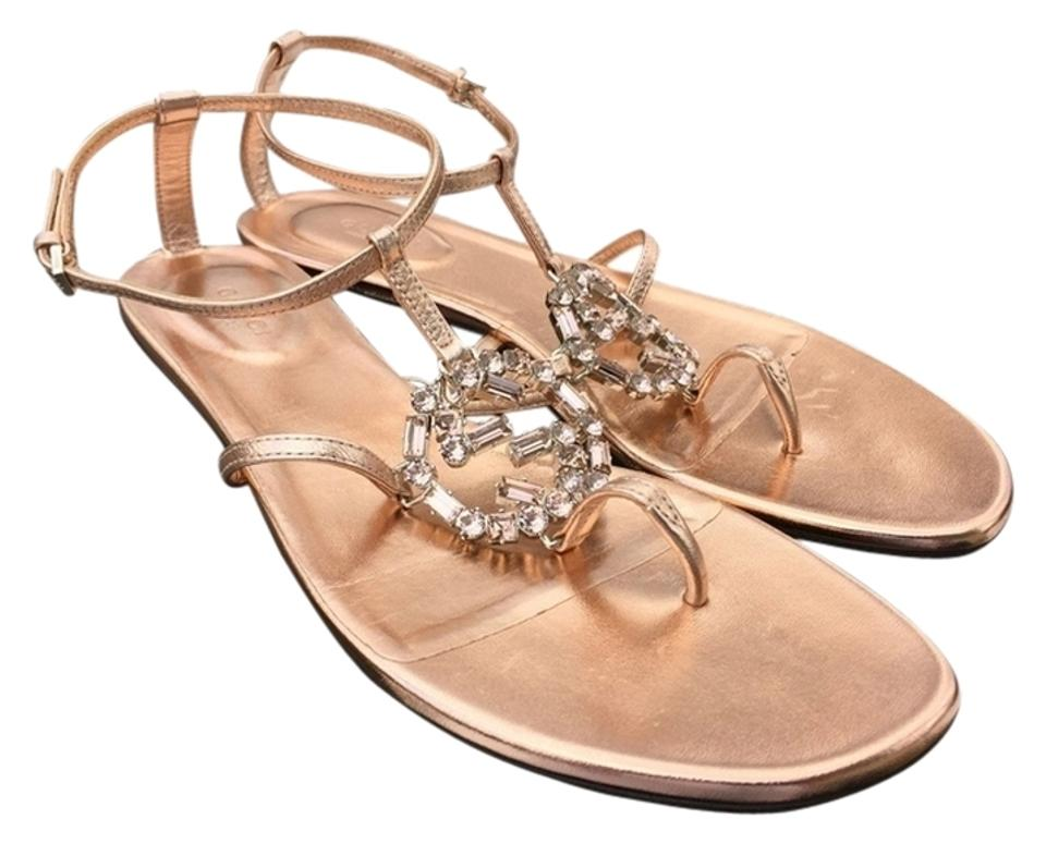 990f6510ddf Gucci Rose Gold 38 Gg Crystal Metallic Leather Thong Flats Pink ...