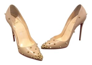 Christian Louboutin Spikes Leather Nude Pumps