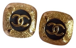 Chanel Chanel Vintage Gold Black Cc Logo Clip On Earrings Square XL Jumbo Maxi Bag