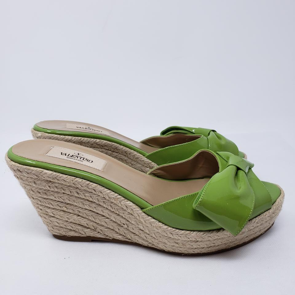 3596d4c649c95 Valentino Beige Green Patent Leather Bow Slide Sandals Wedges Size ...
