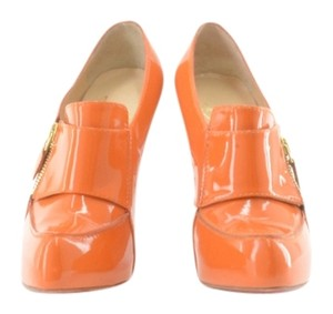 Christian Louboutin Patent Leather Decollete Orange Boots