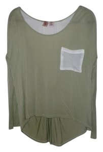Twisted Angels Sheer High Low Longsleeve Top White and Light Green