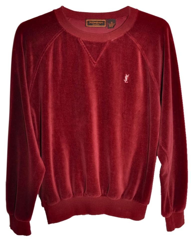 b8f354b1eeb Saint Laurent Ysl Yves Ysl Yves Guaranteed Genuine Velour Wine Red Sweatshirt  Crewneck Raglan Sleeve Vintage ...