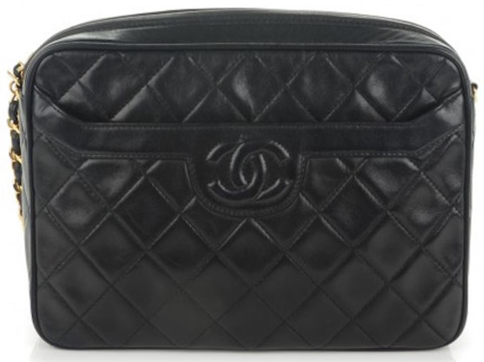207f53e62ea4 Chanel Camera Vintage Cc Logo Quilted Classic Timeless Jumbo Large Tassel Black  Lambskin Leather Cross Body Bag