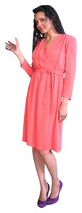 Other Coral Silk Work Faux Wrap Midi Dress