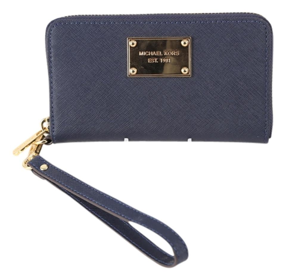 9875e8a45359 Completely new Michael Kors Navy Blue Saffiano Leather Zip Around Phone  Wallet CY07