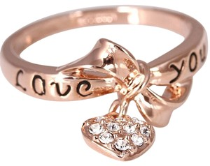 Other New Size 6, 18K Rose Gold Plated Bow Tie Heart