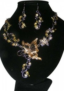Unknown 2pc Rhinestone Butterfly Necklace Set