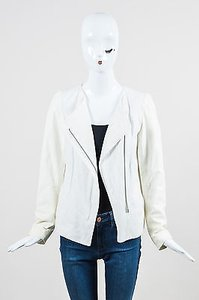 Vince Off Linen Leather Long Sleeve Square Neck Motorcycle Jacket
