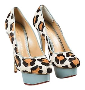 Charlotte Olympia Leopard Pony Hair Leather Polly Platform Multi-Color Pumps