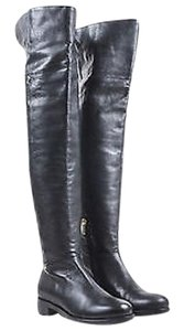 Jimmy Choo Shiny Leather Over The Knee Deron Black Boots