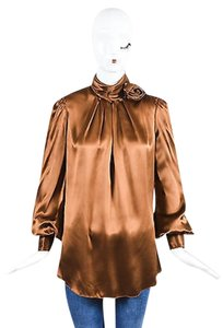 Dolce&Gabbana Rust Silk Ls Rose Embellished Top Orange