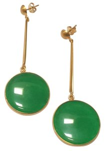 Anticoa Green Jade and 24K over .925 Sterling Silver Earrings